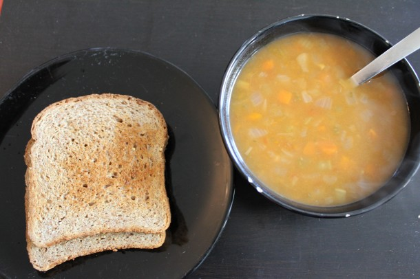 ezekiel toast, amy's soup