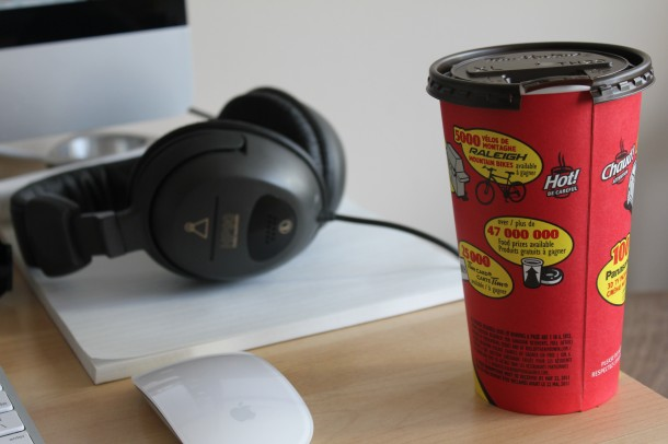 Tim's coffee, roll up the rim