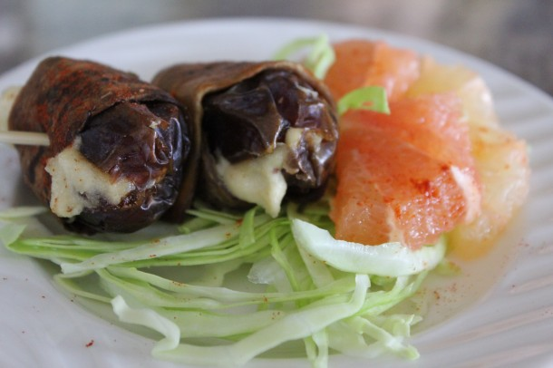 raw vegan dates wrapped in eggplant