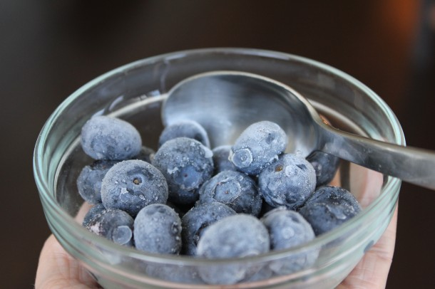 frozen blueberries as a snack