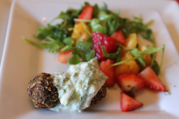 raw falafel, arugula salad