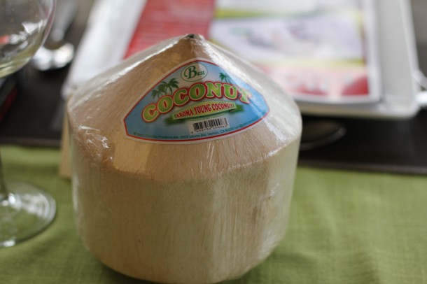 young coconut water, coconut meat