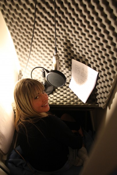 voiceover artist, voicing in hotel closet