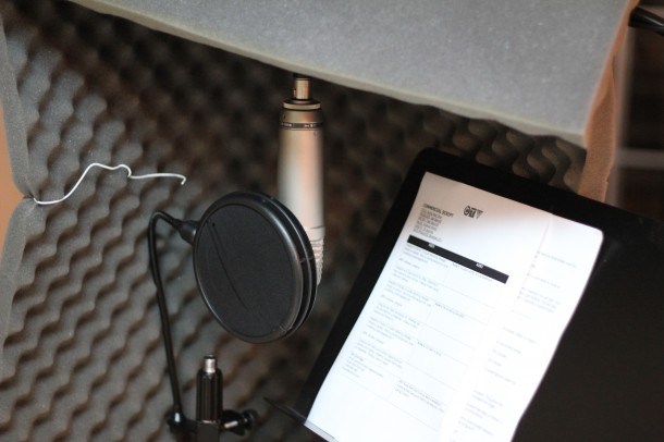 voiceover artist, on the road studio set up
