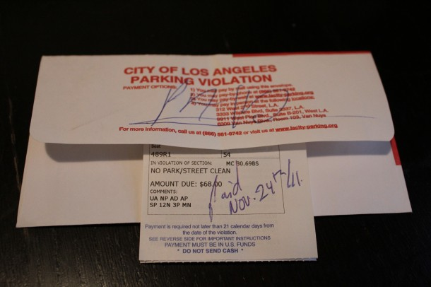 $68.00 LA parking ticket