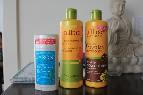 Alba coconut shampoo, alba conditioner, jason deoderant, tea tree